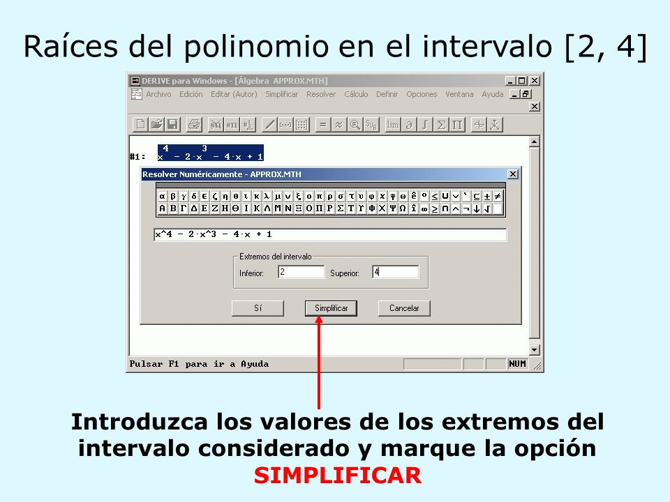 Raíces del polinomio en el intervalo [2, 4]